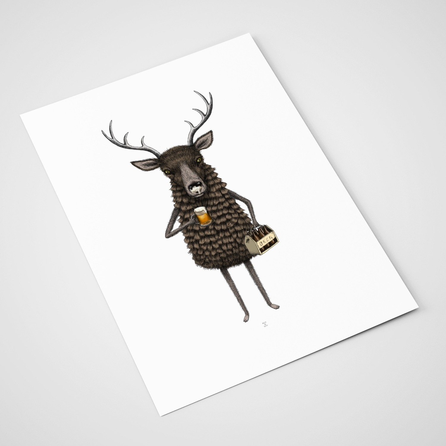'Deer and Beer' Card | A5 print
