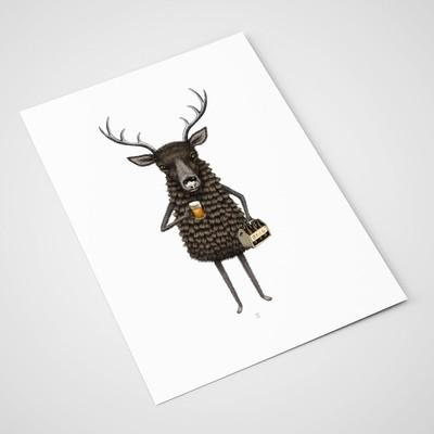 'Deer and Beer' Card | A5 print
