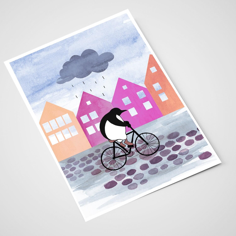 'Pingvin på bryggen' Card | A5