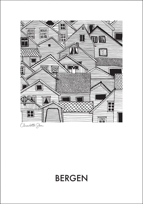 Bergen houses - a4 print - Charlotte Skou