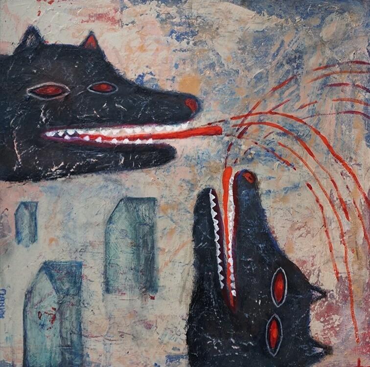 ''Big bad wolves'', original painting