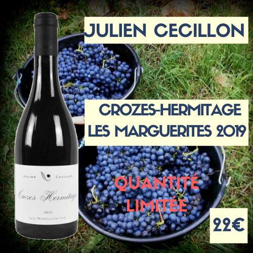"""6 bouteilles Crozes-Hermitage  2019 """"Les Marguerites""""  de Julien Cécillon (22€)"""