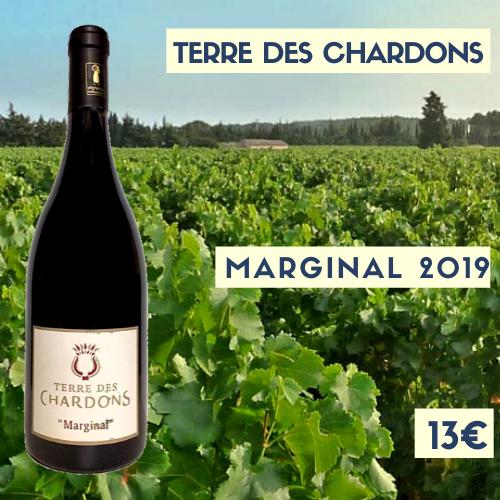 """6 bouteilles Terre des Chardons """"Marginal"""" Costières de Nîmes 2018 (rouge) (13€)"""
