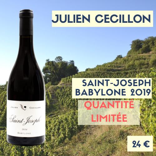 """6 bouteilles Saint-Joseph 2019 """"Babylone"""" rouge, Julien Cécillon 24€"""