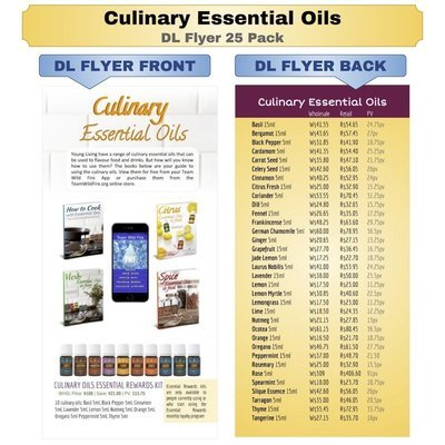Culinary Essential Oils DL Flyer 25 Pack