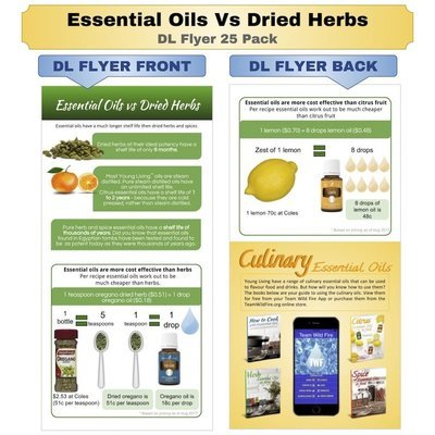 Essential Oils Vs Dried Herbs DL Flyer 25 Pack