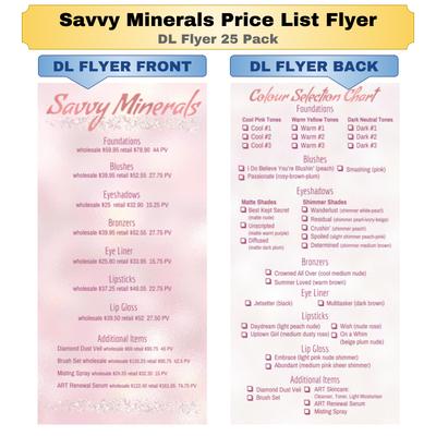 Savvy Minerals Price List DL Flyer 25 Pack
