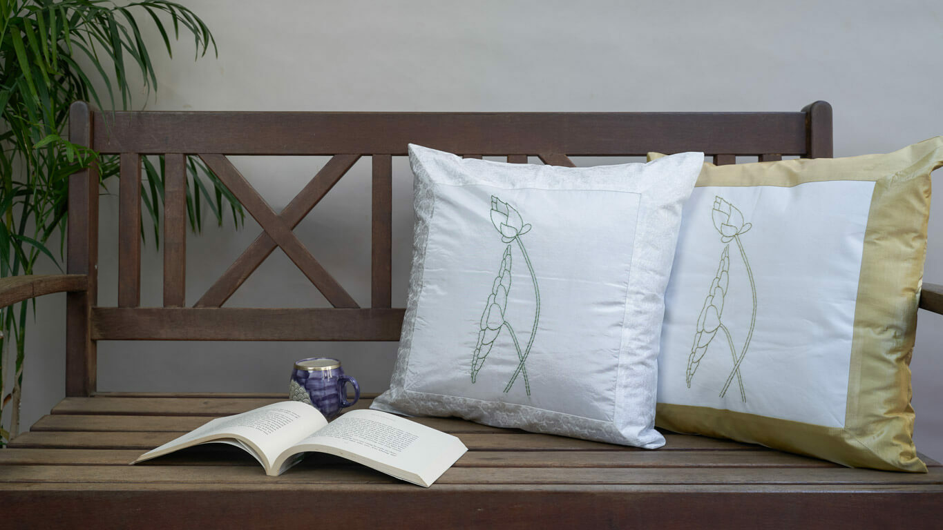 "Cushion Cover ""Framed Lotus"""
