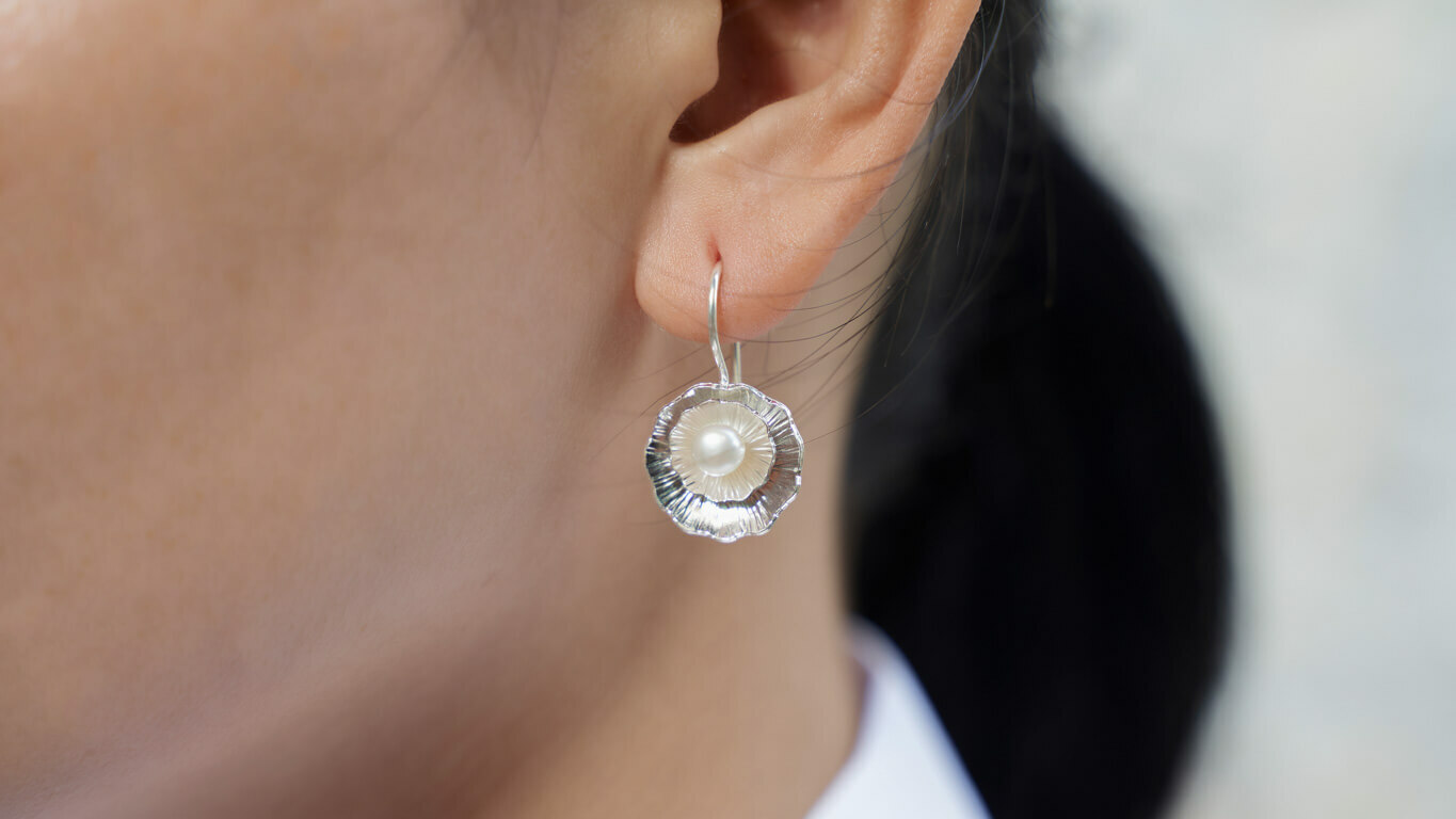 "Earrings ""Pearl Drop Lotus"""