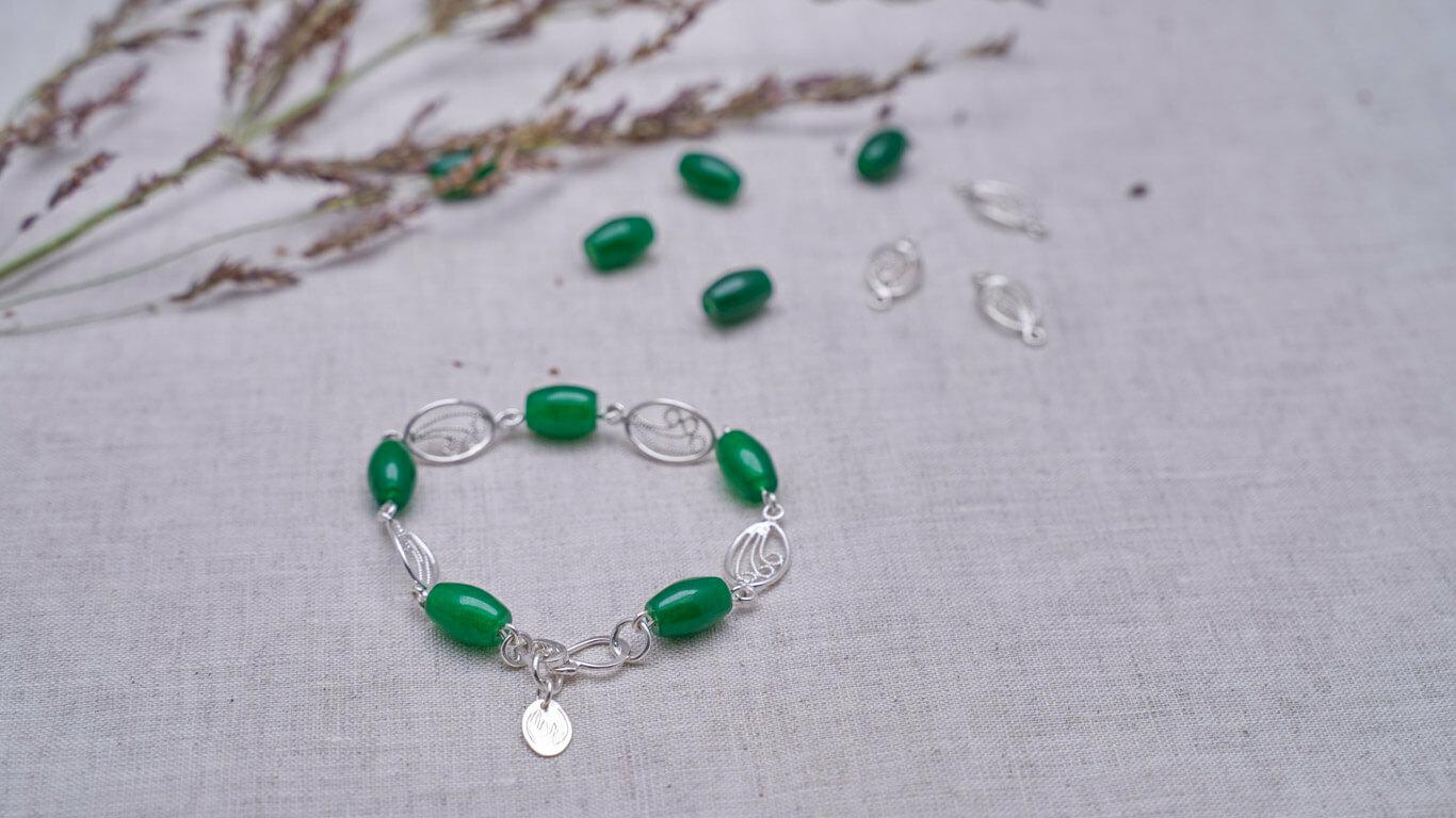 """Bracelet """"Jade-Silver Friends"""""""