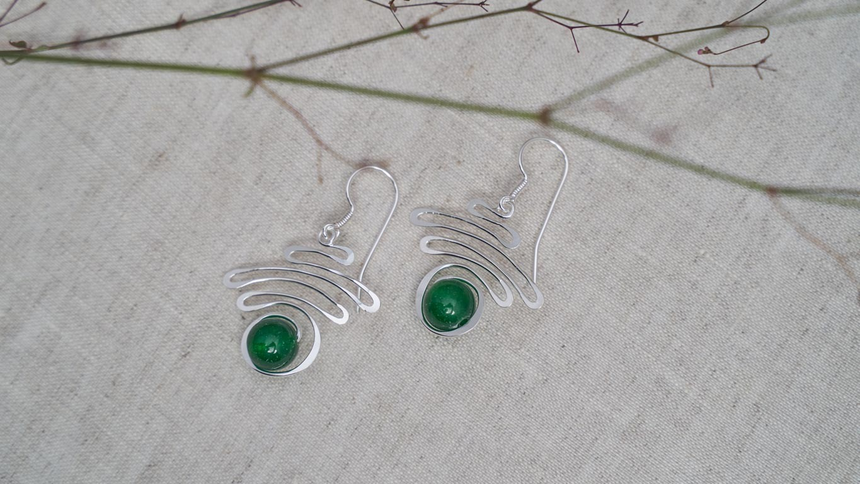 """Earrings """"Jade Silver Swirl"""" RO112TS"""