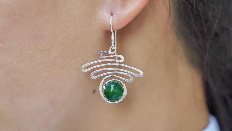 """Earrings """"Jade Silver Swirl"""""""