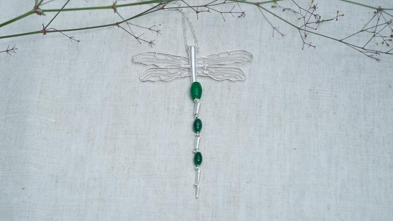 "Pendant ""Silver Jade Dragonfly"""