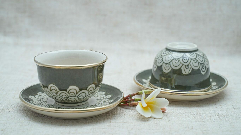 "Ceramic teacup ""Dragon scale"" LV6TVRG"