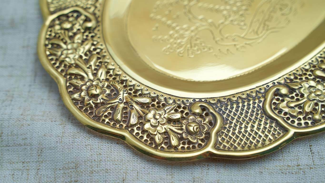 Engraved Oval Bronze Tray