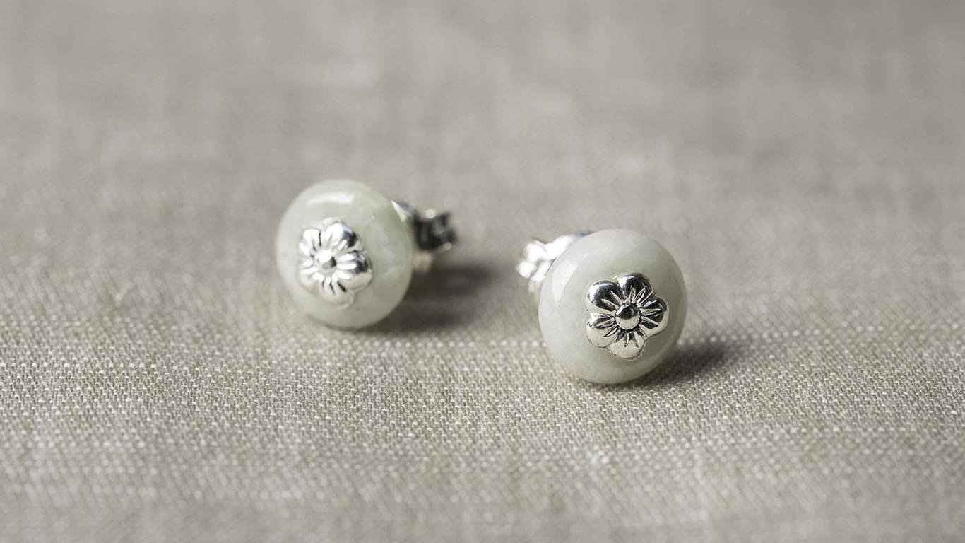 """Earrings """"Silver Marble"""" RO108TS"""
