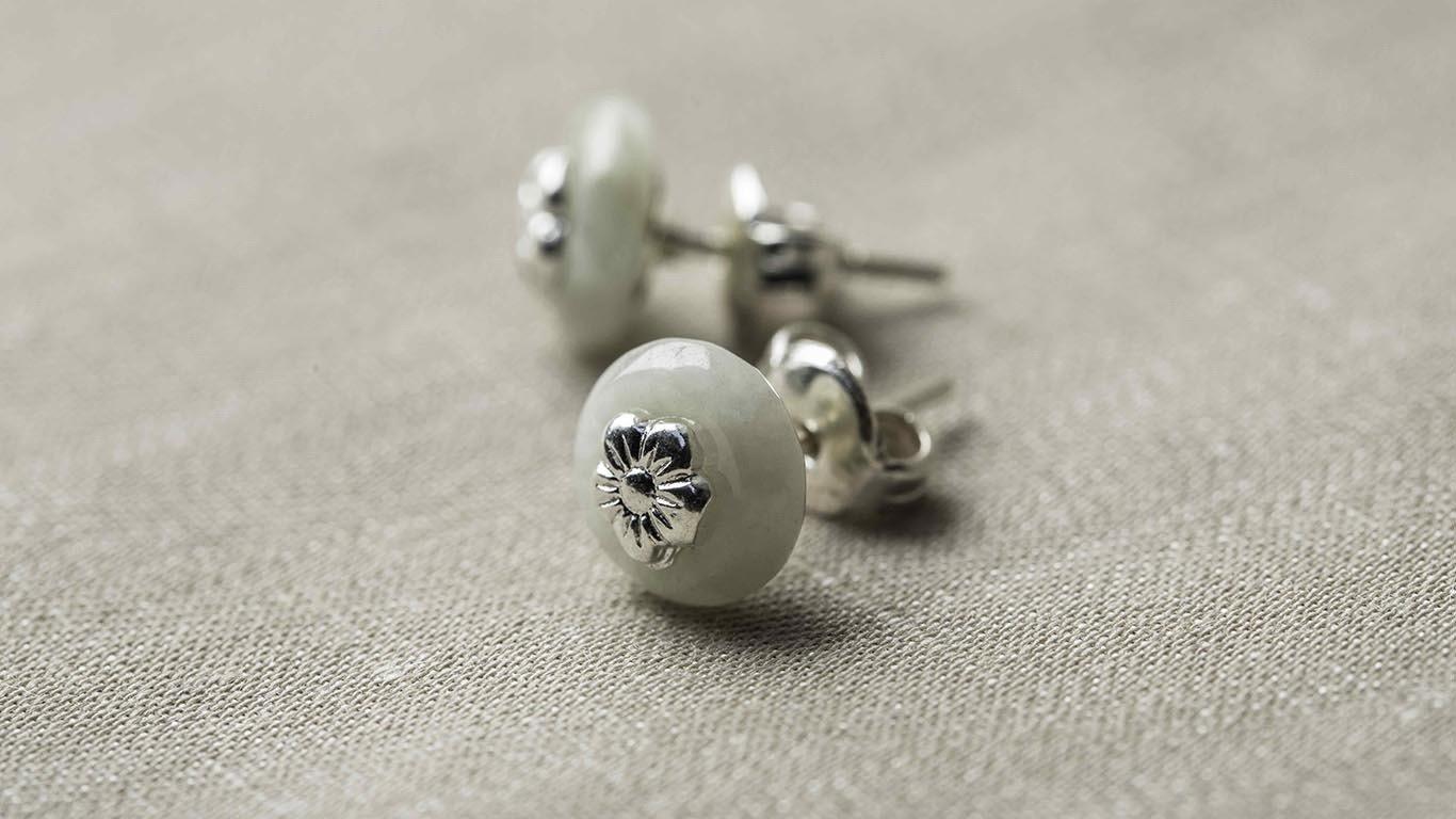 Marble silver earrings 2