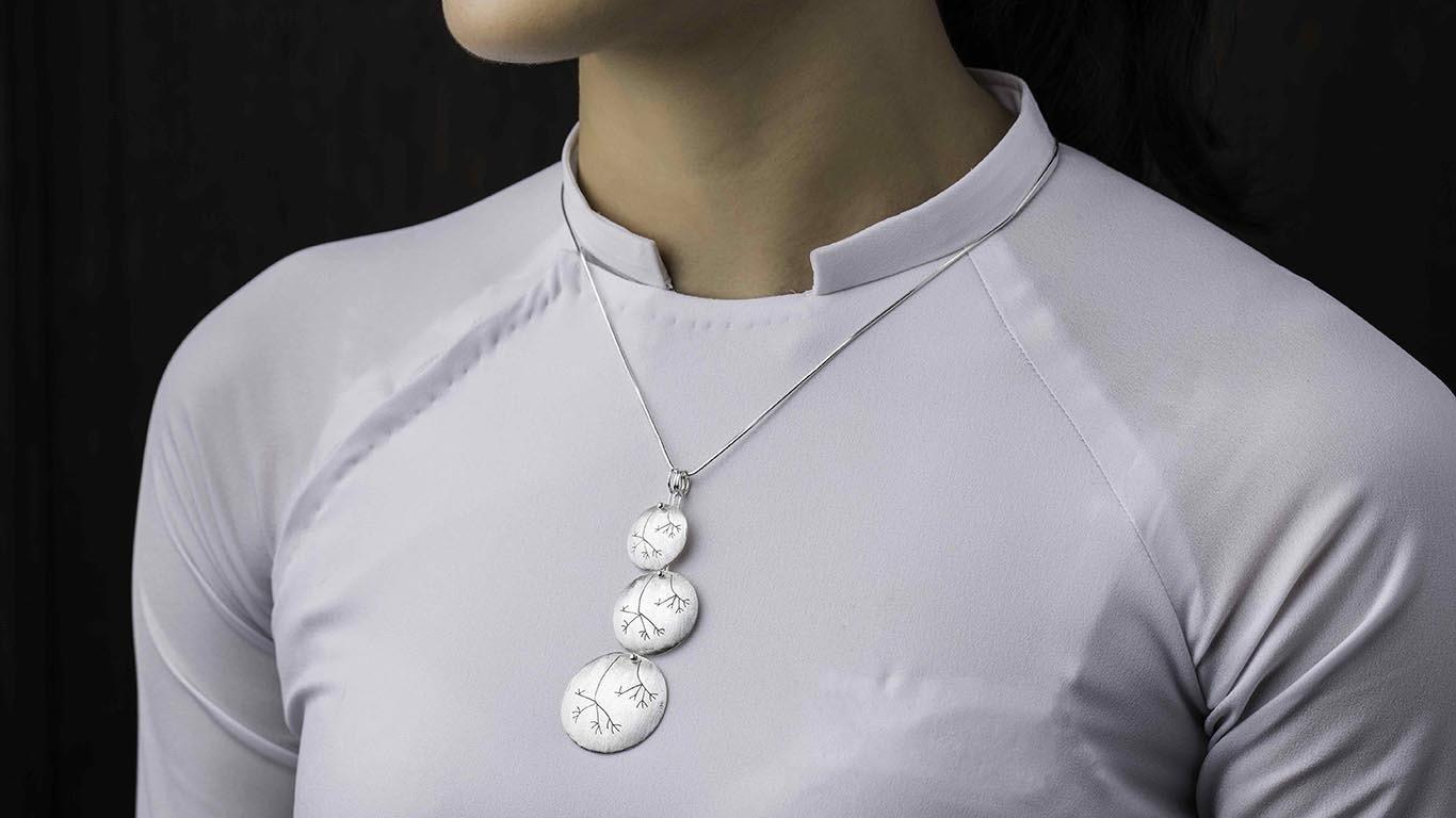 3 Tier Circles Silver Pendant