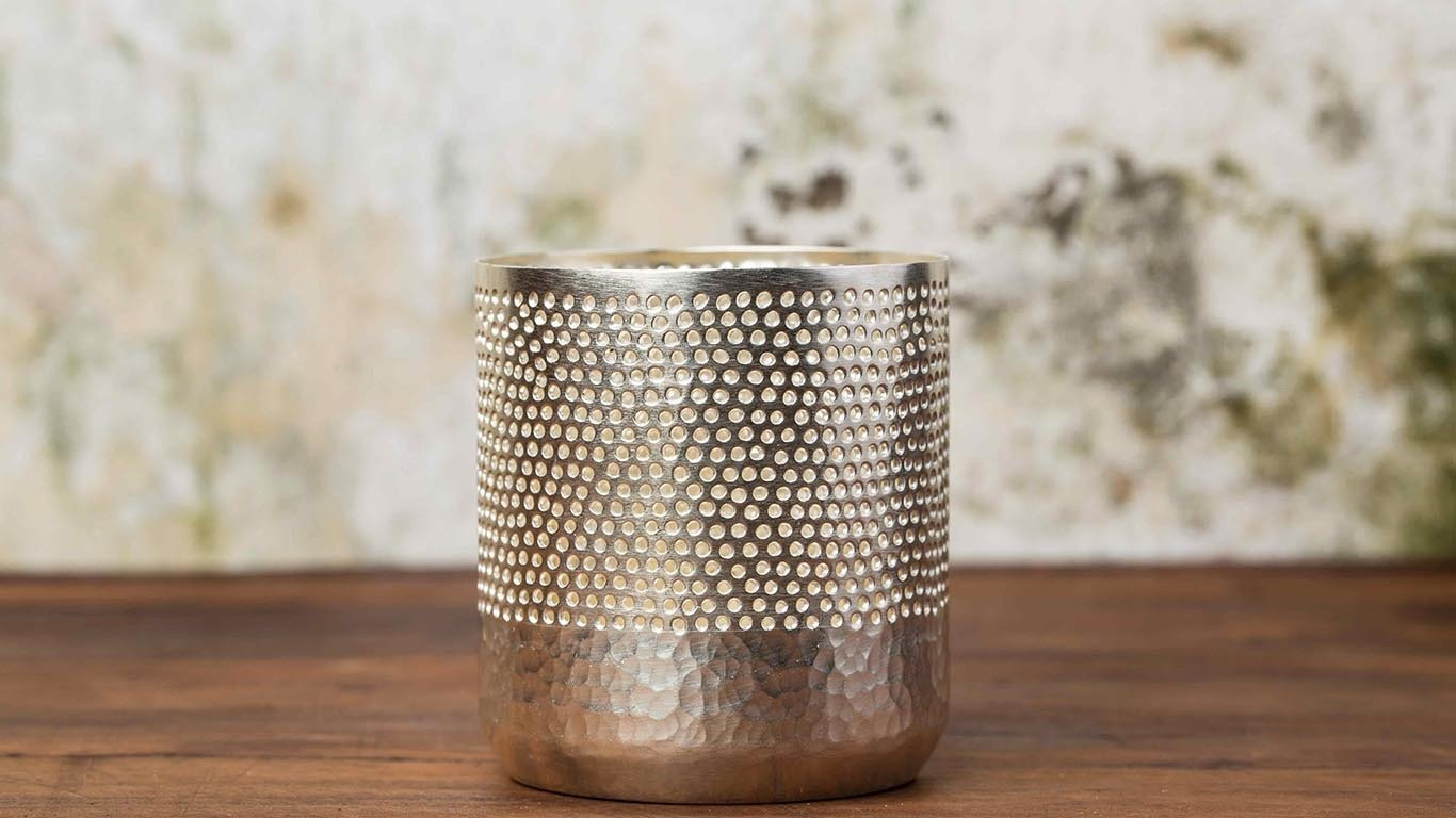 """Candle holder """"Silver cylinder"""" HP69TS"""