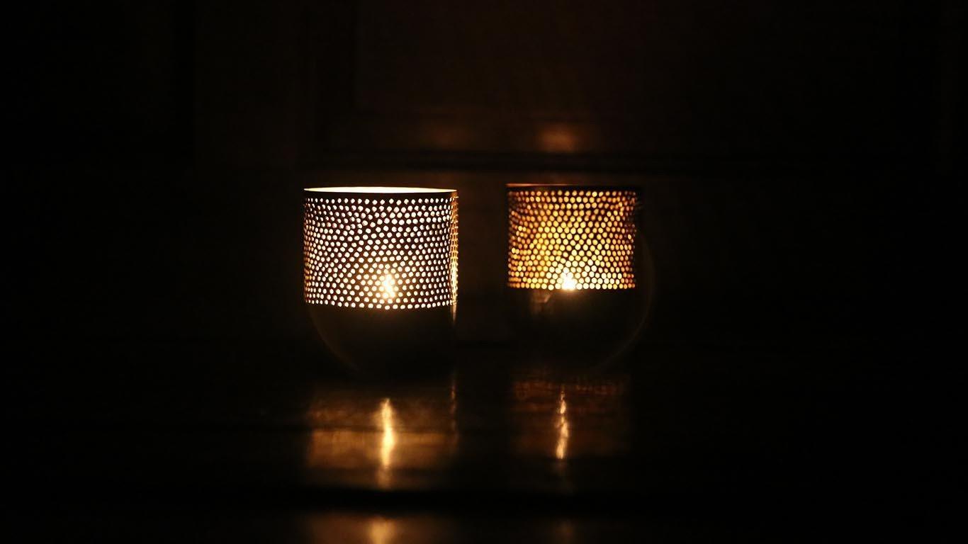 """Candle holder """"Silver cylinder"""""""