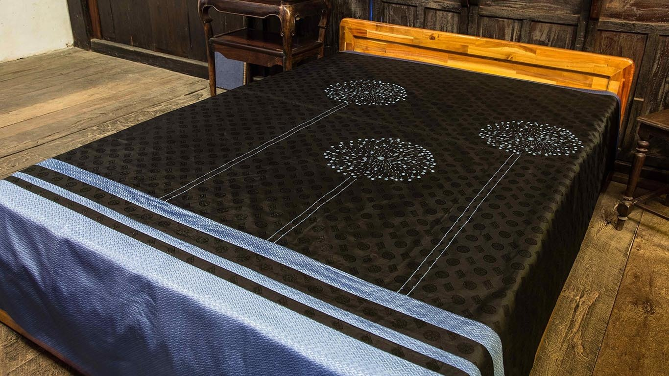 Reaching Out fireworks reversible bedspread