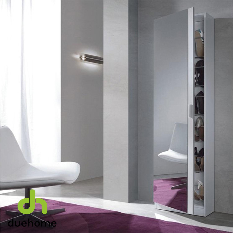 Zapatero Alto con puerta cristal espejo, recibidor zapatero, color Blanco.