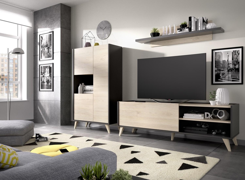 Apilable moderno Ancho 2,36 mts. Color GRAFITO / NATURAL.