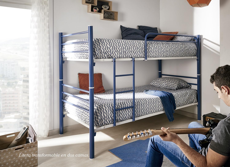 Litera Divisible en 2 camas, Mega-resistente para 2 colchones de ancho 90cm.