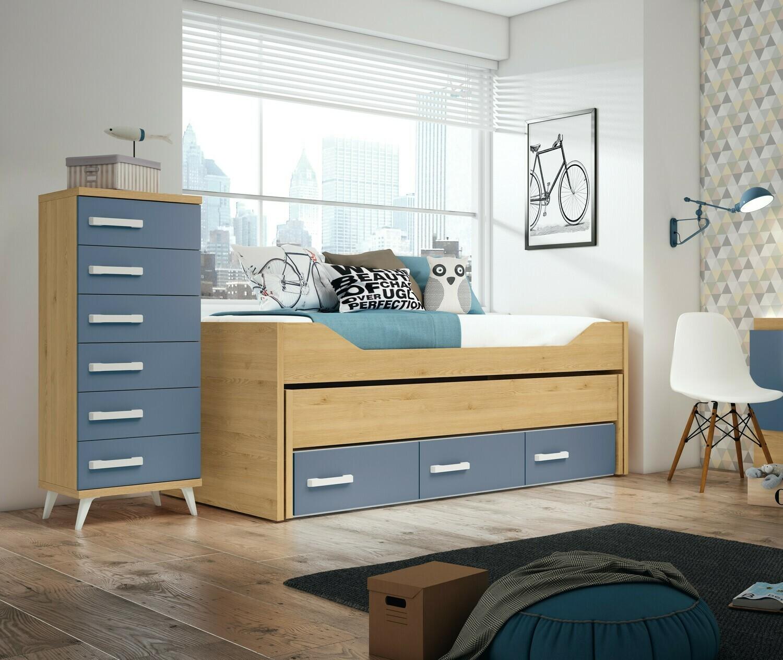 Cama compacta con dos camas y 3 cajones