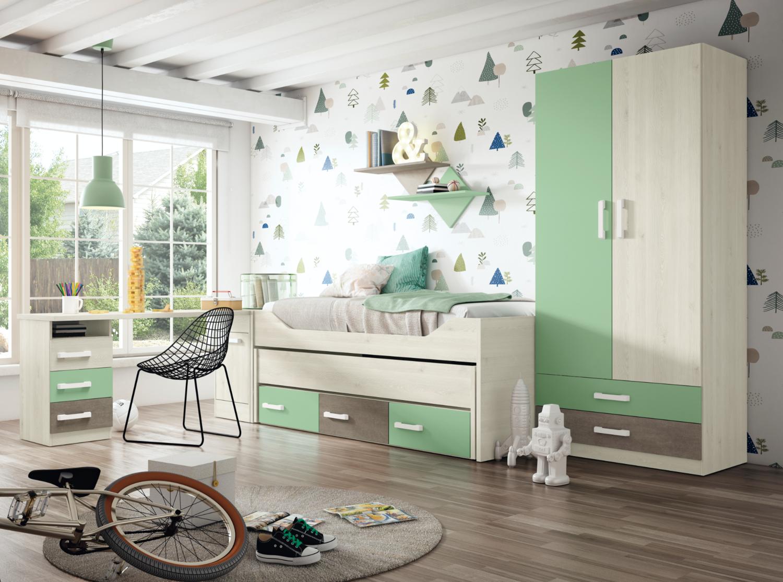 Dormitorio con Cama de 2 camas y cajones + Armario + Mesa estudio + Arcón + 2 Estantes de Pared.