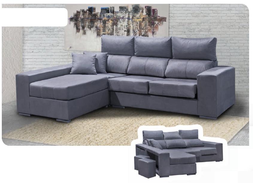 Sofa Cheslón Partida con 4 poufs + 2 cojines decorativos.