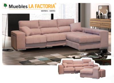 Sofa Cheslón Partida Grande con 4 poufs + 2 cojines decorativos.