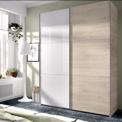 Armario 2 puertas correderas -Ancho 1,50-Natural y Blanco Brillo