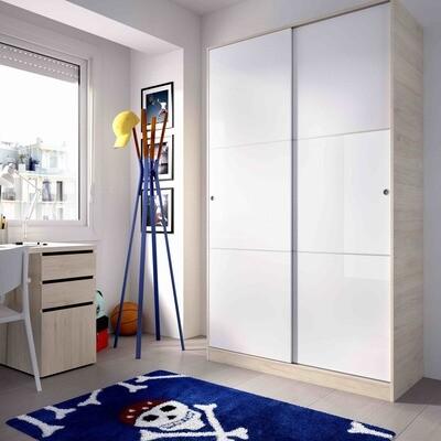 Armario 2 puertas correderas -Ancho 1,20- Blanco Brillo y carcasa en color Haya-