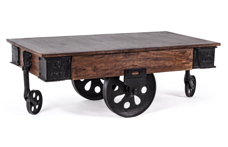 Mesa centro con ruedas Industrial.