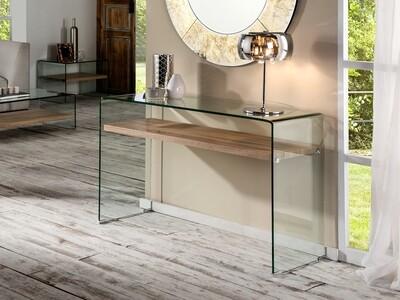 Consola cristal transparente, templado y curvado.