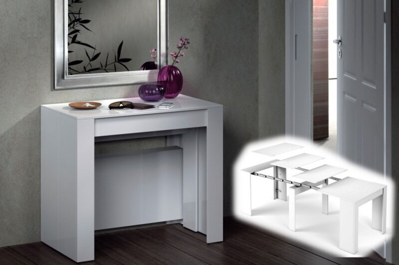 Mesa Consola extensible 4 en 1 ,En color Blanco Brillo.