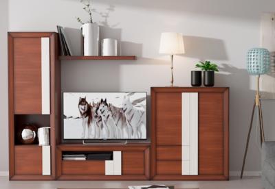 Apilable Moderno de  Salón en Chapa de Natural de Roble color Cerezo