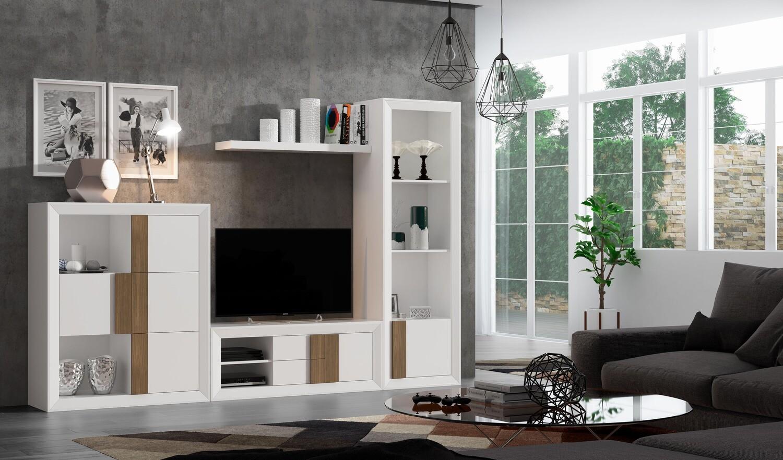 Apilable Moderno de  Salón en Chapa de Natural de roble color Blanco y Nogal