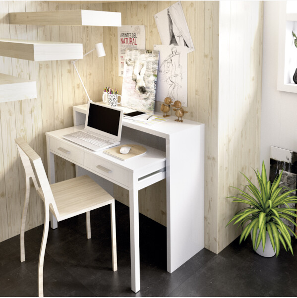 Mesa Consola/Mesa Trabajo extensible 2 en 1, En color Blanco