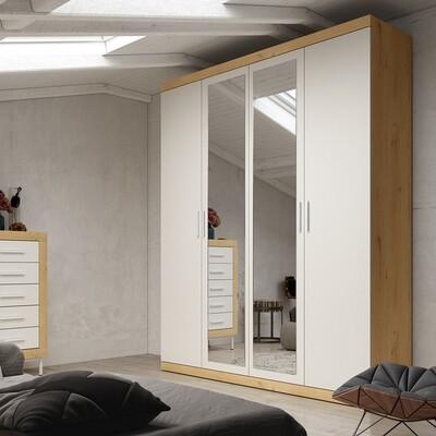 Armario Frontal 4 puertas con 2 espejos centrales, Frontal en Color Blanco , Estructura en Color Roble