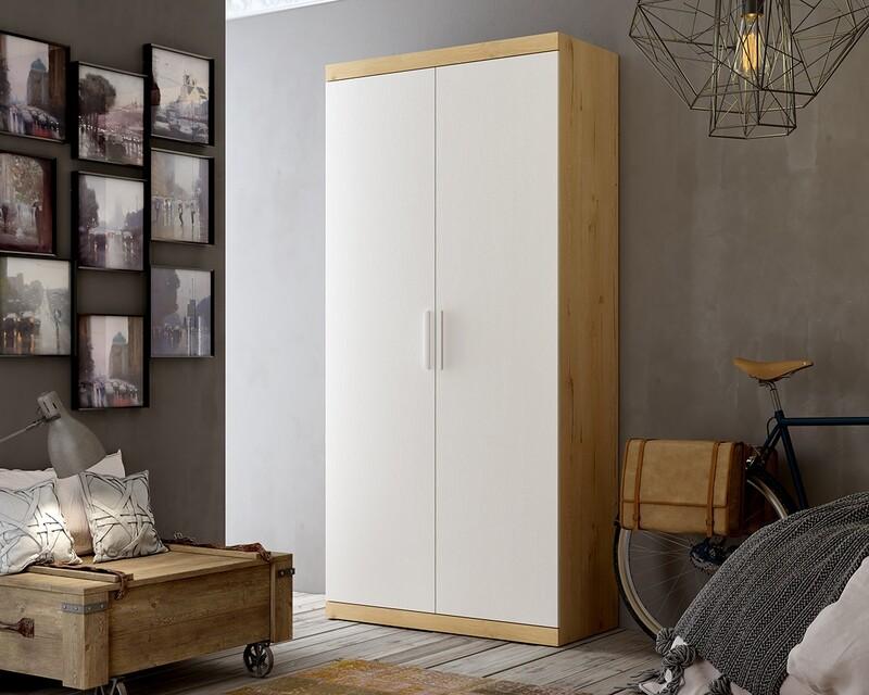 Armario 2 puertas Bi-Color Roble y Blanco
