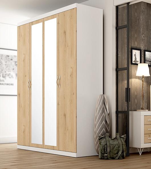Armario Frontal 4 puertas con 2 espejos centrales, Frontal en Color Roble , Estructura en Color Blanco