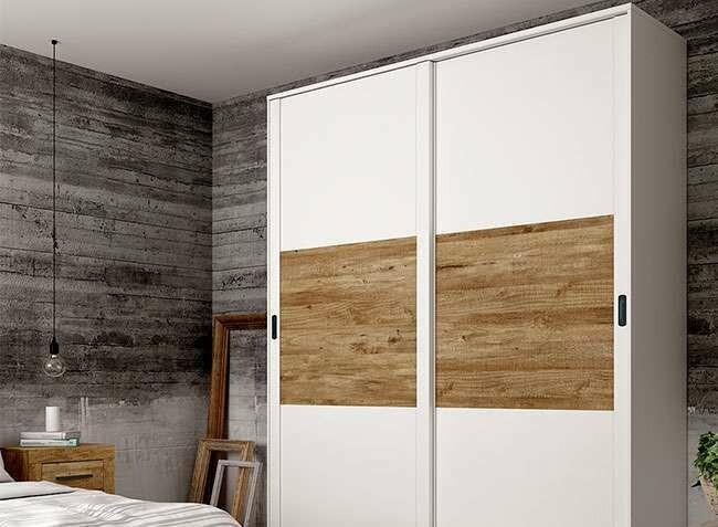 Armario 2 puertas correderas 180 cm de ancho en blanco y Mango