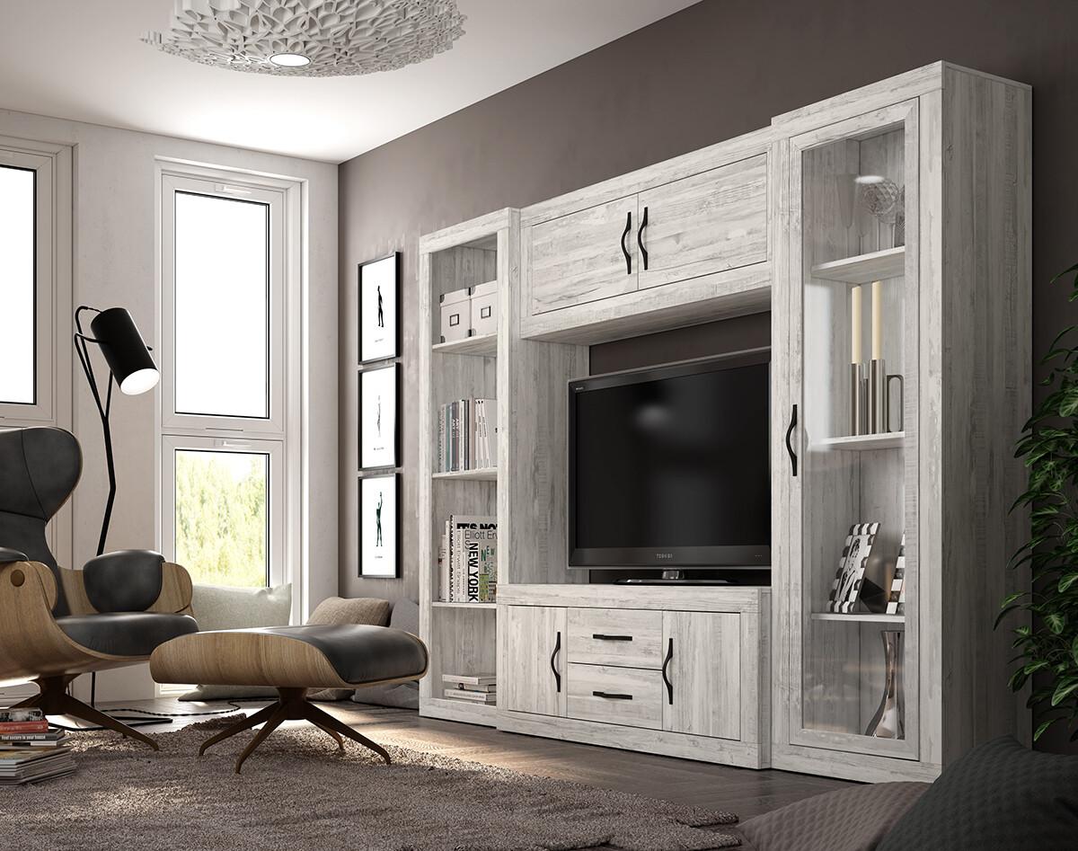 Librería TV de salón moderna en color Artico.