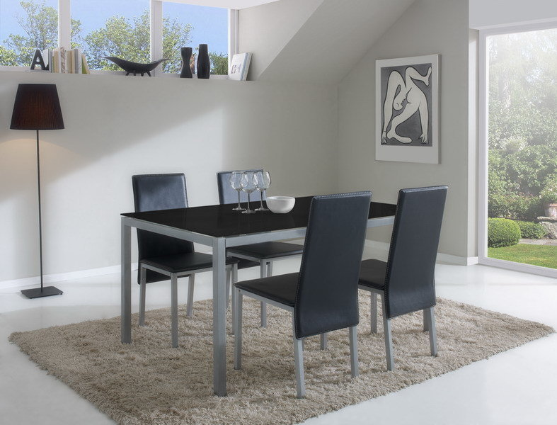 Mesa Comedo cristal negro - Fija