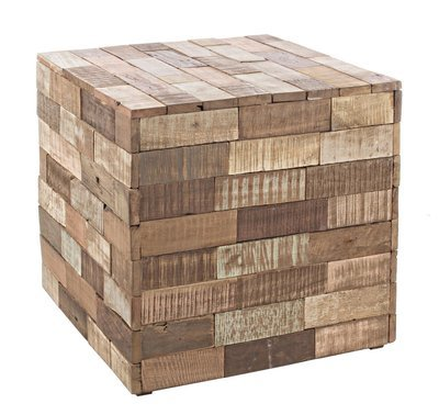 Mesa cuadrada en madera reciclada.