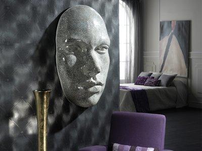 Escultura Mascara 3D de vidrios recortados en mosaico