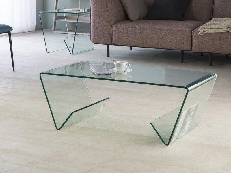 Mesa auxiliar realizada en cristal curvado transparente