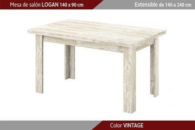 Mesa comedor extensible (140 cm. x Fondo: 90 cm. x Alto: 76,9 cm.)